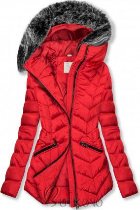 Červená zimní prošívaná bunda s nepravou kožešinou
