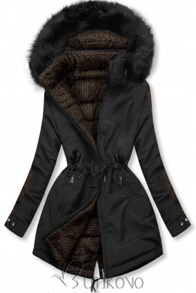 Černá prošívaná oboustranná bunda