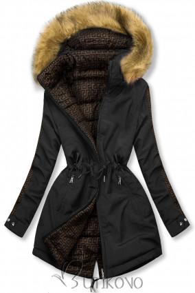 Černá/hnědá prošívaná oboustranná bunda