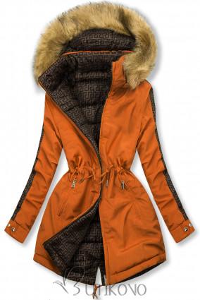 Cihlově oranžová prošívaná oboustranná bunda