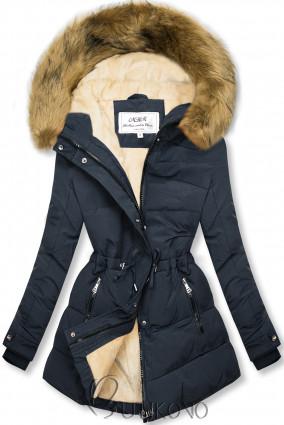 Tmavě modrá-béžová zimní bunda