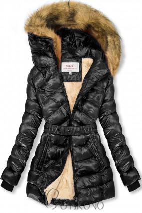 Černá/béžová lesklá bunda s páskem