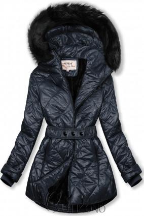 Tmavěmodrá lesklá zimní bunda s páskem