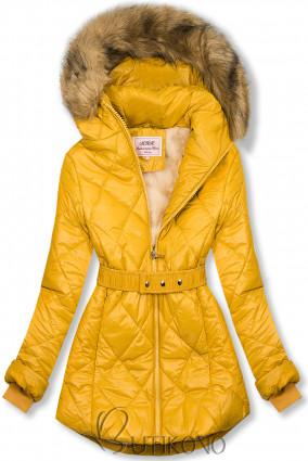 Žlutá lesklá zimní bunda s páskem