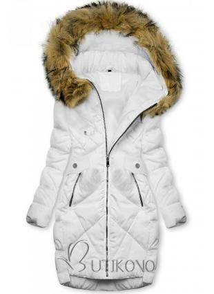 Bílá zimní bunda s bambulkami