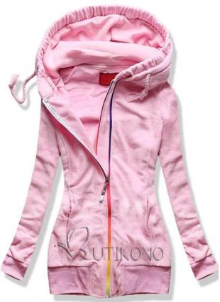 Růžová fleecová mikina s barevným zipem