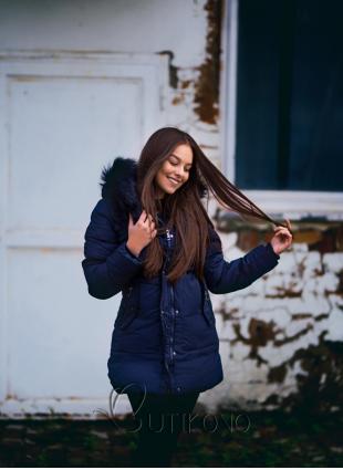 Tmavě modrá zimní bunda se stahováním v pase