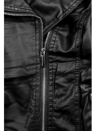 Černá koženková bunda s kožešinovým límcem