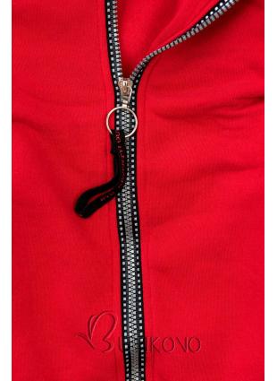 Červená mikina s pruhovanou podšívkou