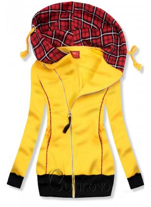 Žlutá mikina s károvanou kapucí