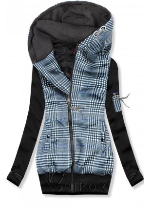 Černá károvaná mikina/bunda