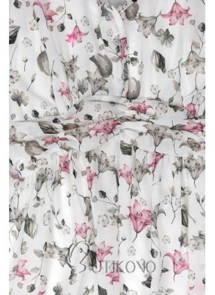 Bílé maxi šaty s květinami Rafaela