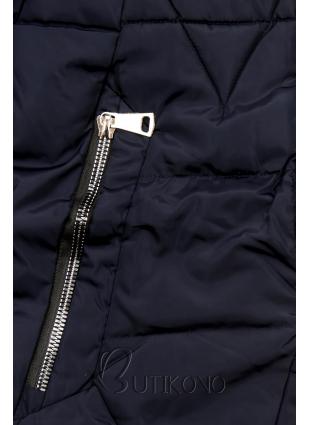 Tmavě modrá bunda v přiléhavém střihu