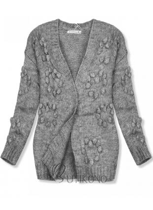 Šedý pletený svetr s bambulkami