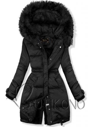 Černá prošívaná bunda v prodlouženém střihu