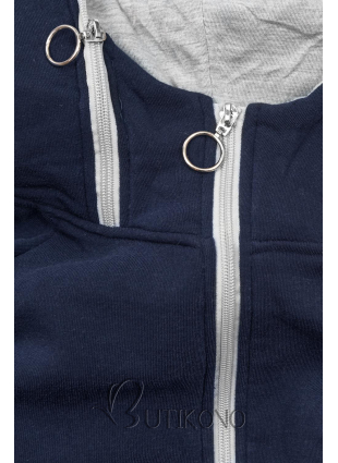 Modro-šedá dlouhá mikina na zip