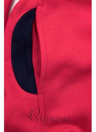 Malinově růžová mikina s kontrastními detaily