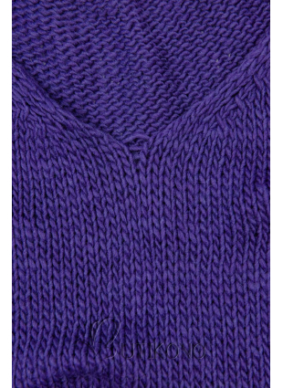 Fialový pletený pulovr