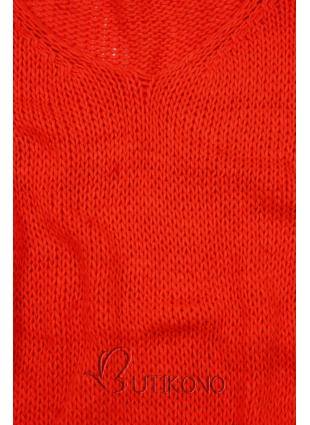 Neonově oranžový pletený pulovr