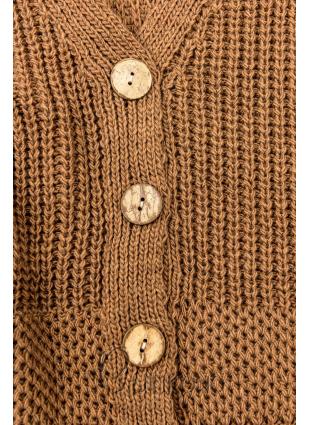 Hnědý pletený svetr na knoflíky