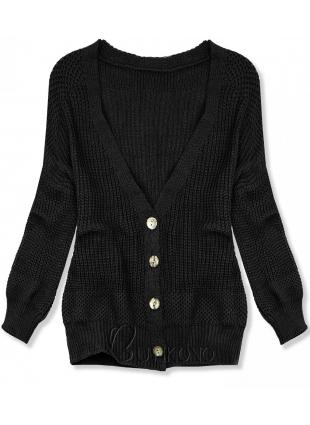 Černý pletený svetr na knoflíky