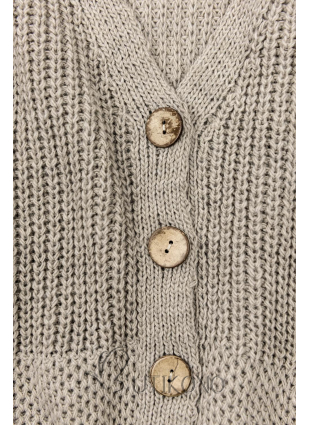 Cappuccino pletený svetr na knoflíky