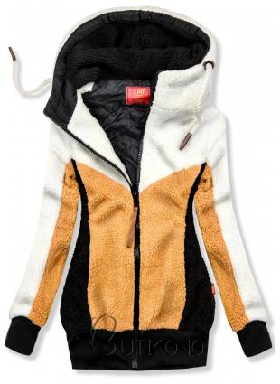 Bílo-žlutá kožešinová mikina