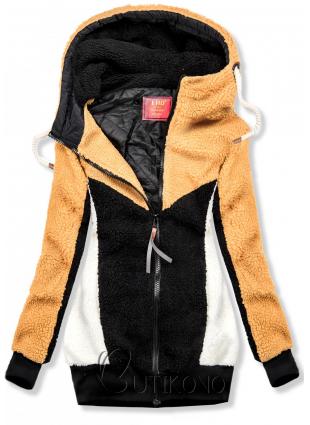 Žluto-černá kožešinová mikina