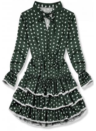 Zelené tečkované šaty s volány
