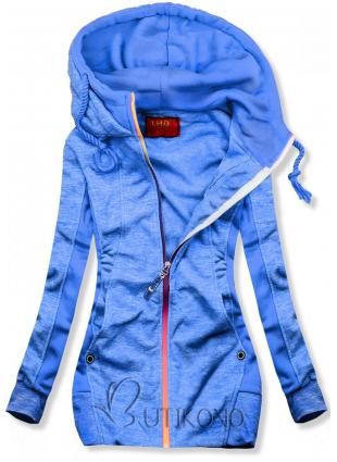Modrá mikina s kontrastním zipem