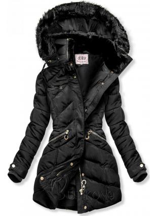 Černá zimní bunda s teplým plyšovým límcem