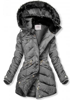 Šedá zimní bunda s teplým plyšovým límcem