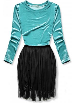 Tyrkysové šaty s tylovou sukní