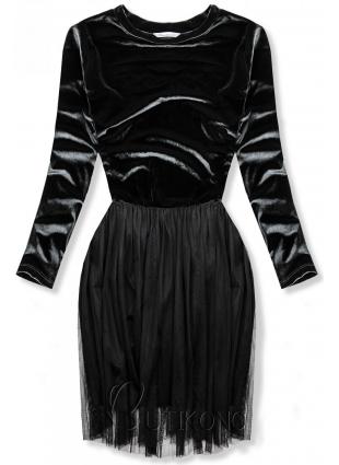 Šedé šaty s tylovou sukní