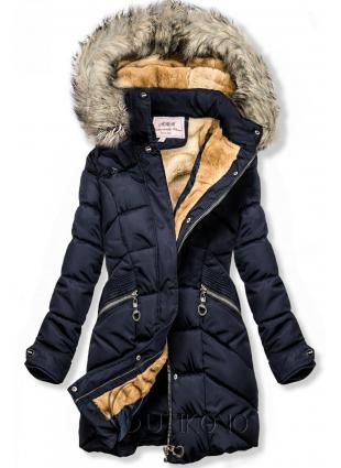 Modrá zimní bunda s odnímatelnou kapucí
