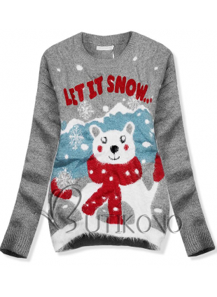 Šedý svetr LET IT SNOW