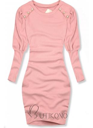 Růžové elegantní šaty v přiléhavém střihu