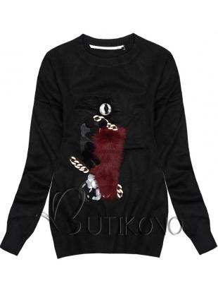 Černý pulovr Papoušek