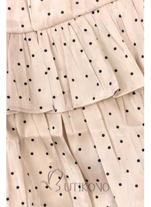 Béžová tečkovaná sukně