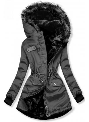Šedá oboustranná zimní bunda