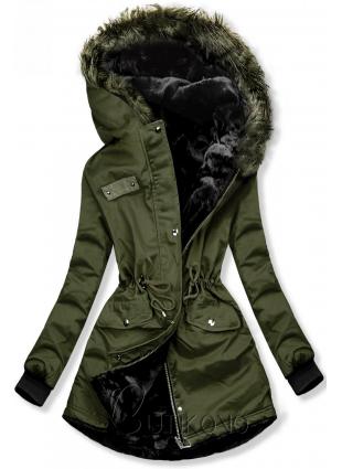 Zelená oboustranná zimní bunda