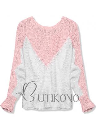 Růžový pulovr s netopýřími rukávy