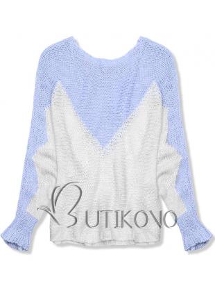 Světle modrý pulovr s netopýřími rukávy