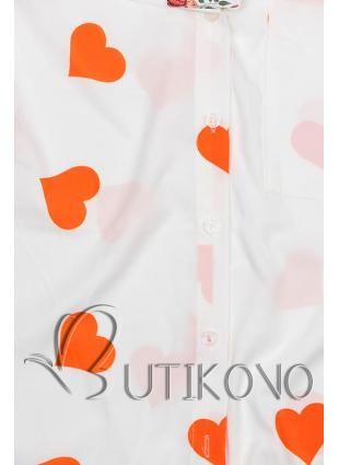 Bílo-oranžová košile se srdíčky