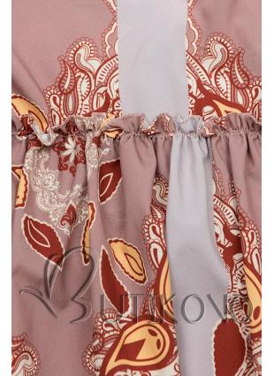 Béžové vzorované šaty s volánovou sukní
