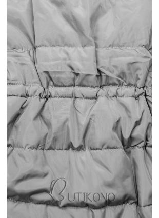 Šedá zimní bunda s prodlouženými rukávy