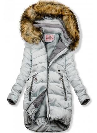Baby blue prodloužená bunda s kapucí