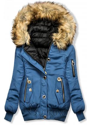 Jeans modrá zimní oboustranná bomber bunda