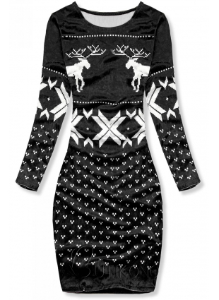 Černé sametové vánoční šaty