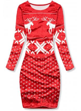 Červené sametové vánoční šaty